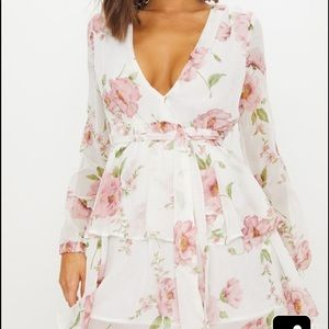 Floral Chiffon Double Tier Plunge Skater Dress
